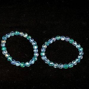 Set of 2 crystal blue bracelets faux costume jewel